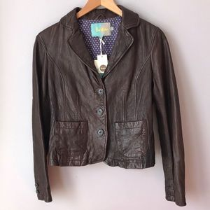 Boden  100% Leather Jacket Blazer US 6